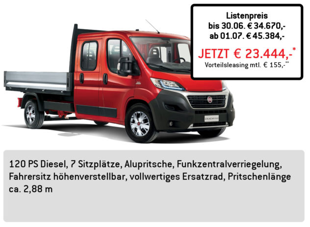 Fiat DUCATO Pritsche Doppelkabine L3 3,3to LÜFTNER EDITION